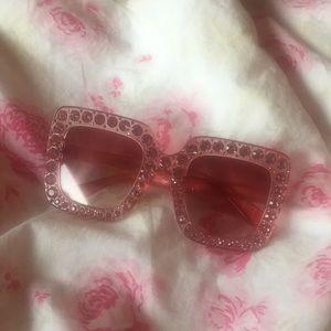 Accessories - 💖Gorgeous Light Pink Gem Oversized Sunglasses💖